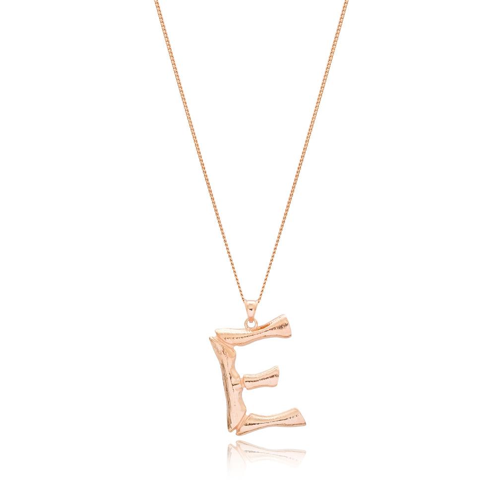 Alphabet E Letter Design Pendant Turkish Wholesale Handmade 925 Sterling Silver Jewelry