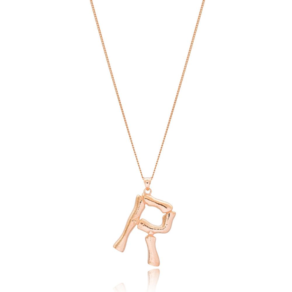 Alphabet R Letter Design Pendant Turkish Wholesale Handmade 925 Sterling Silver Jewelry