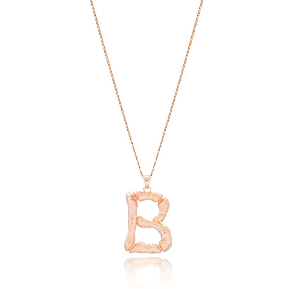 Alphabet B Letter Design Pendant Turkish Wholesale Handmade 925 Sterling Silver Jewelry
