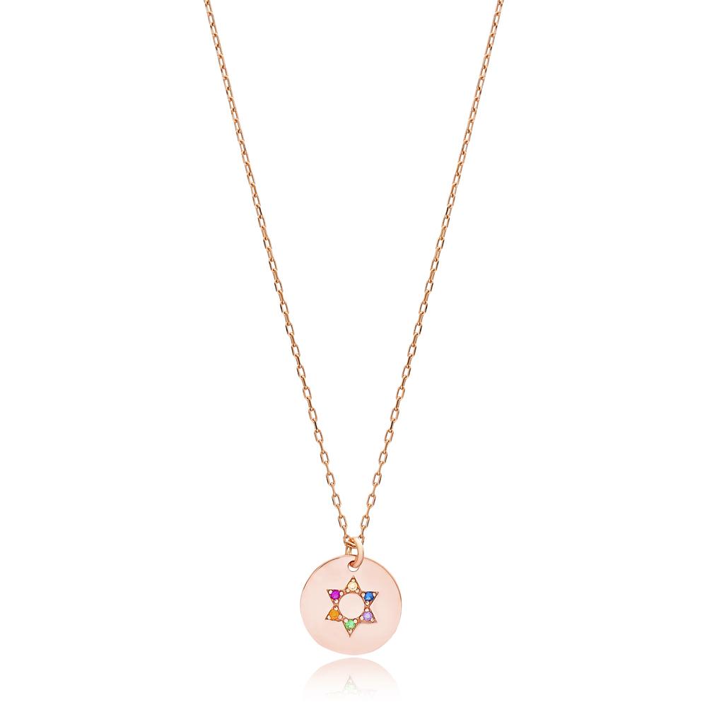 Rainbow Star Charm Pendant 925 Silver Sterling Jewelry Wholesale Handmade Turkish