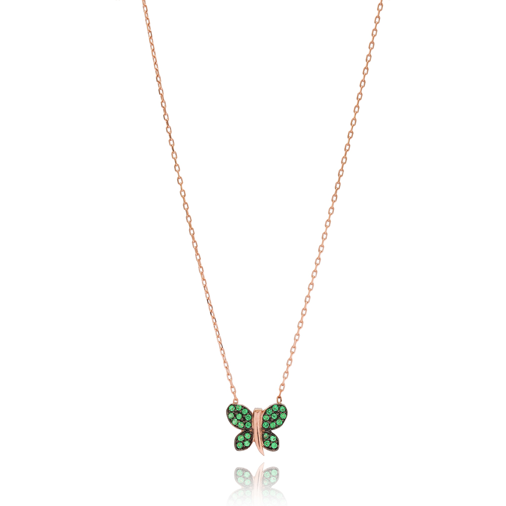 Minimalist Emerald Butterfly Design Pendant Wholesale Handmade Turkish Sterling Silver Pendant