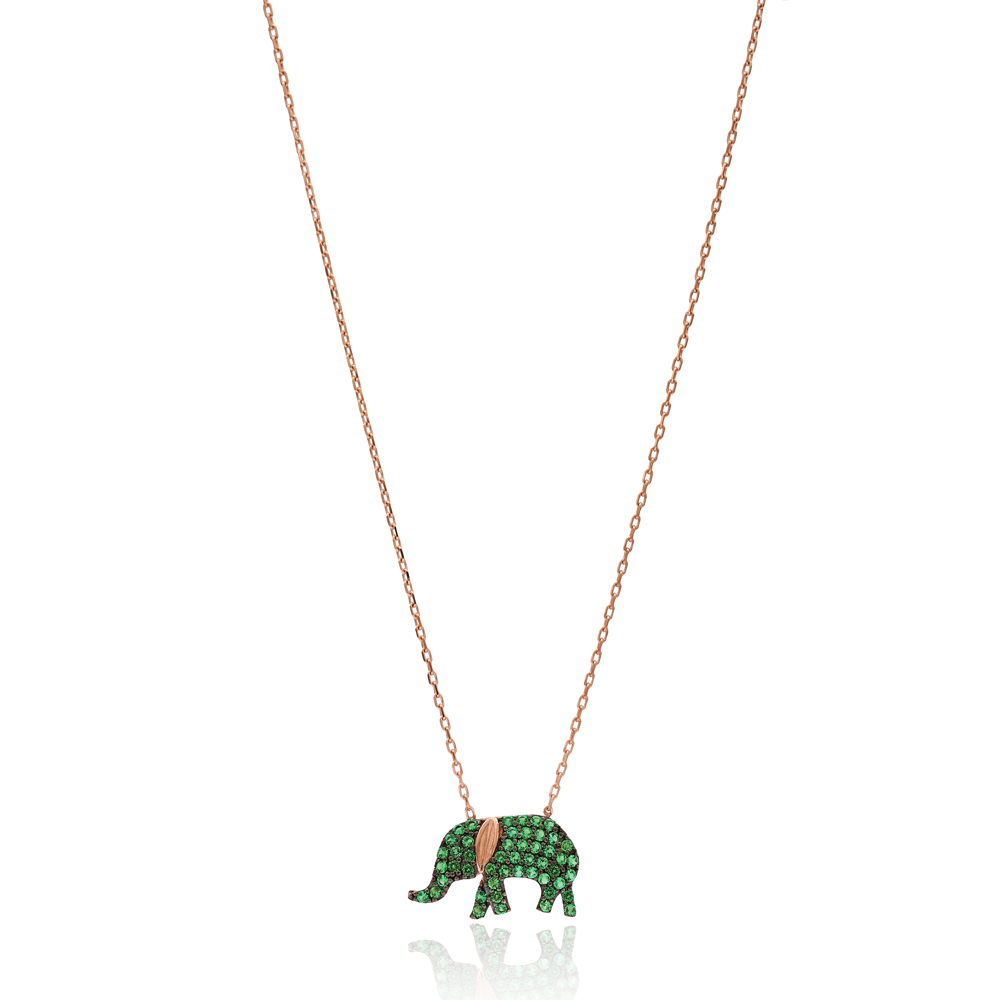 Emerald Elephant Silver Pendant Turkish Wholesale Sterling Silver Jewelry