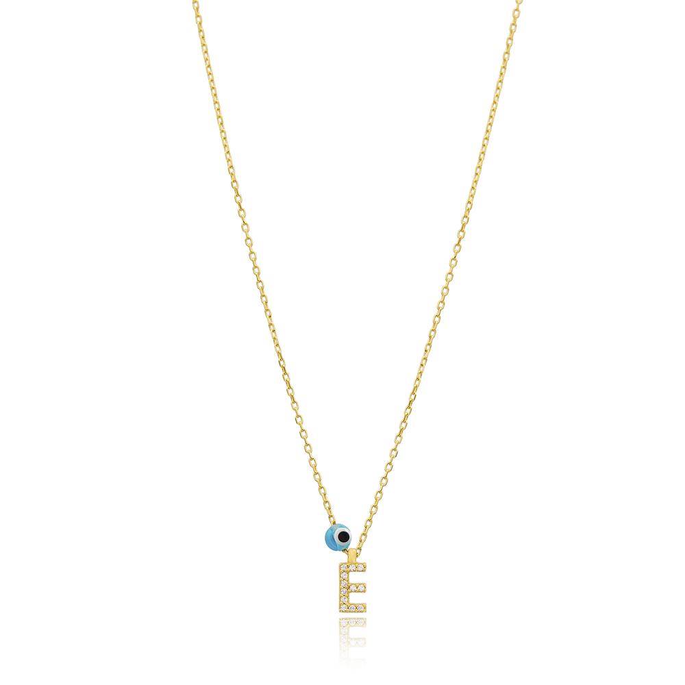 Alphabet Letter E Charm Necklace Wholesale 925 Sterling Silver Jewelry