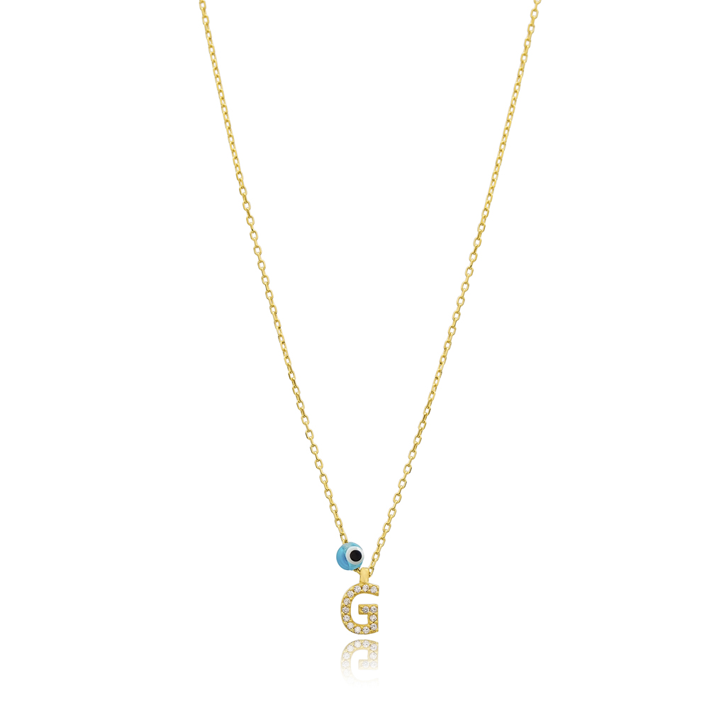 Alphabet Letter G Charm Necklace Wholesale 925 Sterling Silver Jewelry