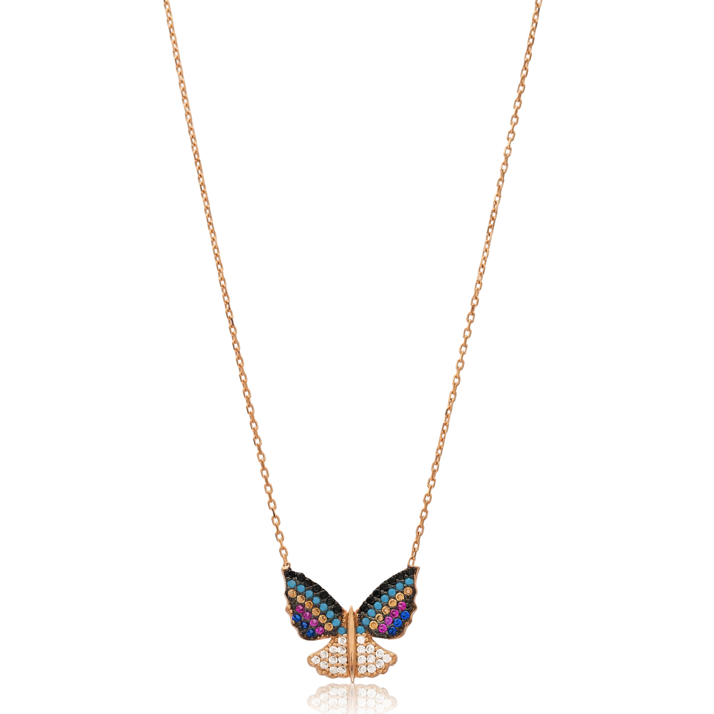 Colorful Butterfly Charm Wholesale Handmade Turkish 925 Silver Sterling Necklace