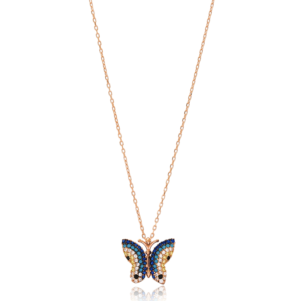 Blue Butterfly Charm Wholesale Handmade Turkish 925 Silver Sterling Necklace