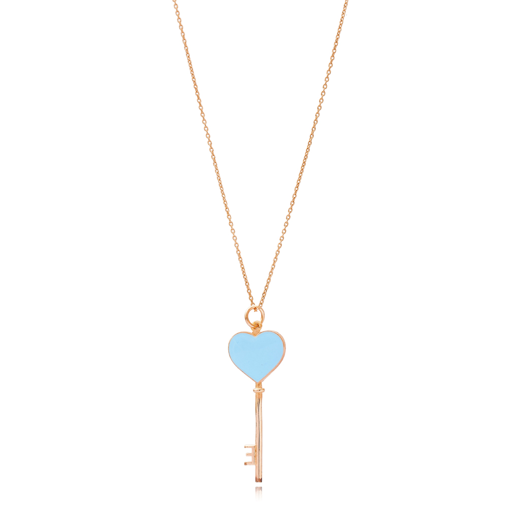Heart Key Charm Wholesale Handmade Turkish 925 Silver Sterling Necklace