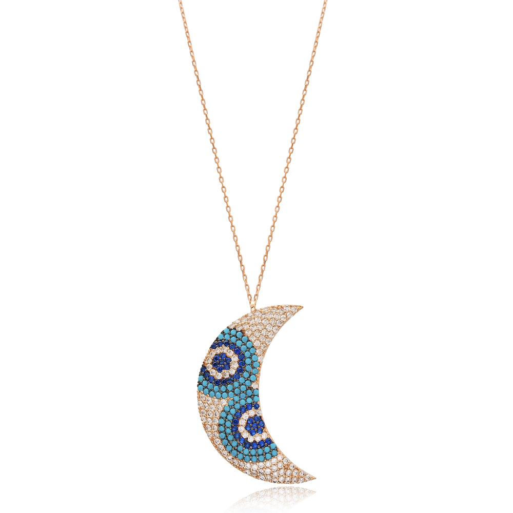 Moon Design Wholesale Handmade Turkish 925 Silver Sterling Necklace
