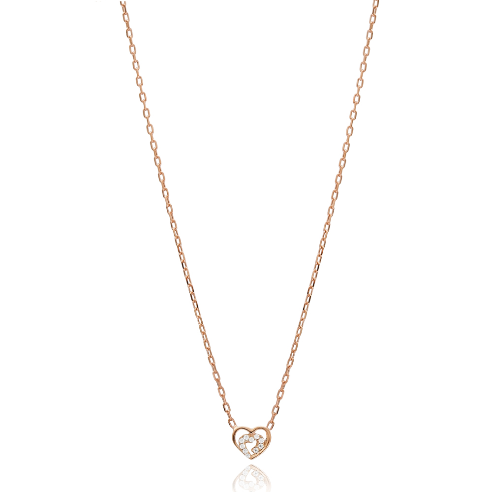 Minimalist Heart Charm Necklace Wholesale Handmade 925 Silver Sterling Jewelry