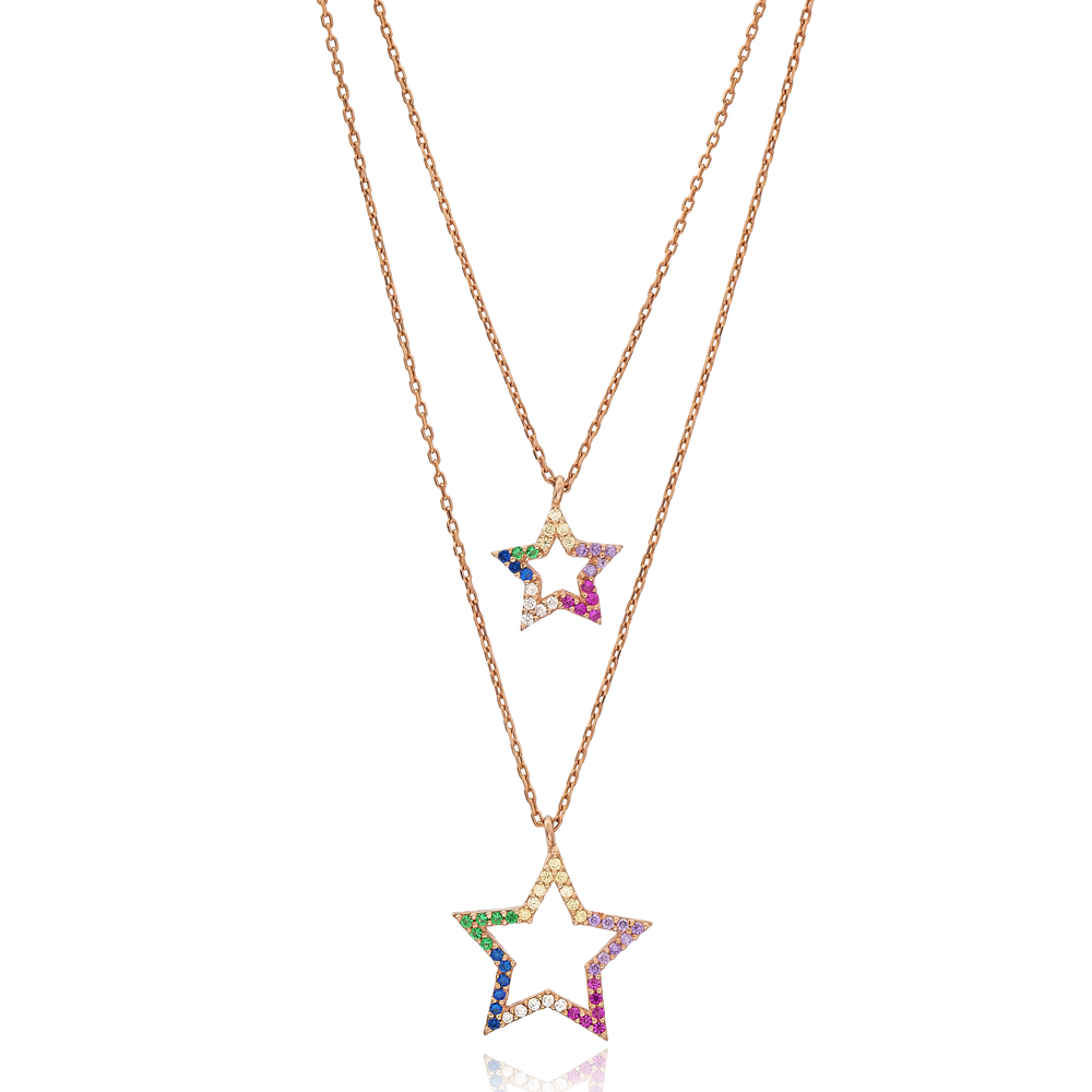 Rainbow Stone Star Charm Design Layered Necklace Wholesale 925 Sterling Silver Jewelry