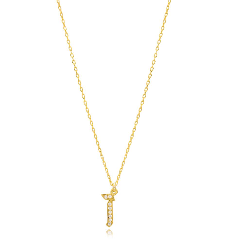 Zayin Letter Hebrew Alphabet Design Wholesale Handmade 925 Silver Sterling Necklace