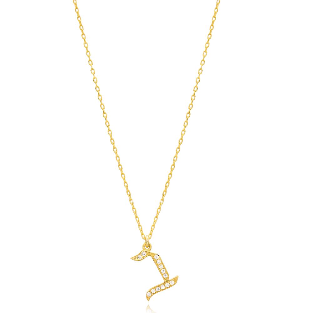 Vet Letter Hebrew Alphabet Design Wholesale Handmade 925 Silver Sterling Necklace