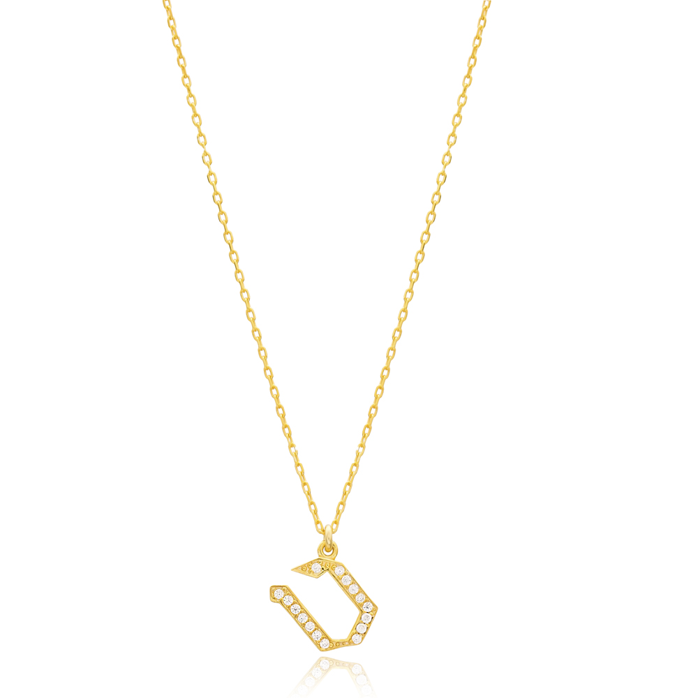 Tet Letter Hebrew Alphabet Design Wholesale Handmade 925 Silver Sterling Necklace