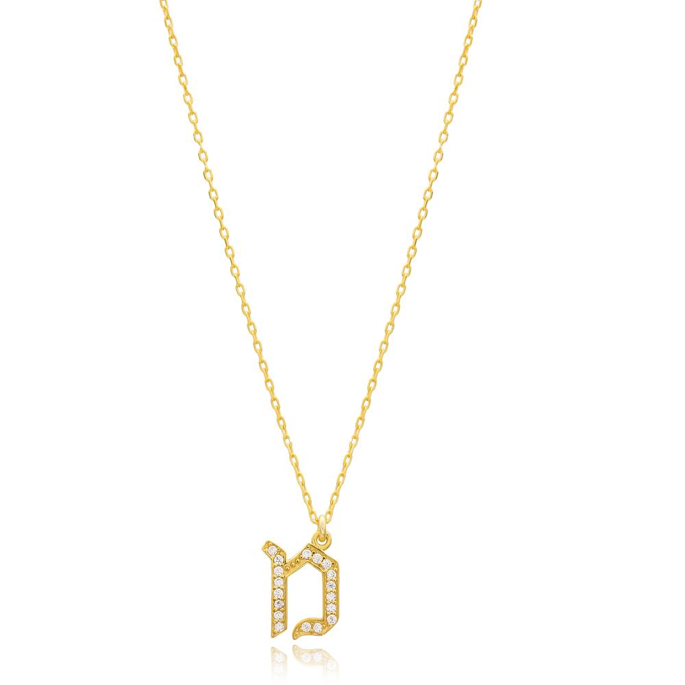 Mem Letter Hebrew Alphabet Design Wholesale Handmade 925 Silver Sterling Necklace