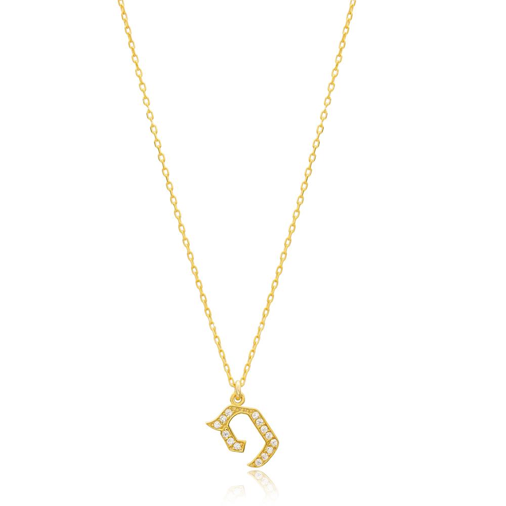 Fay Letter Hebrew Alphabet Design Wholesale Handmade 925 Silver Sterling Necklace