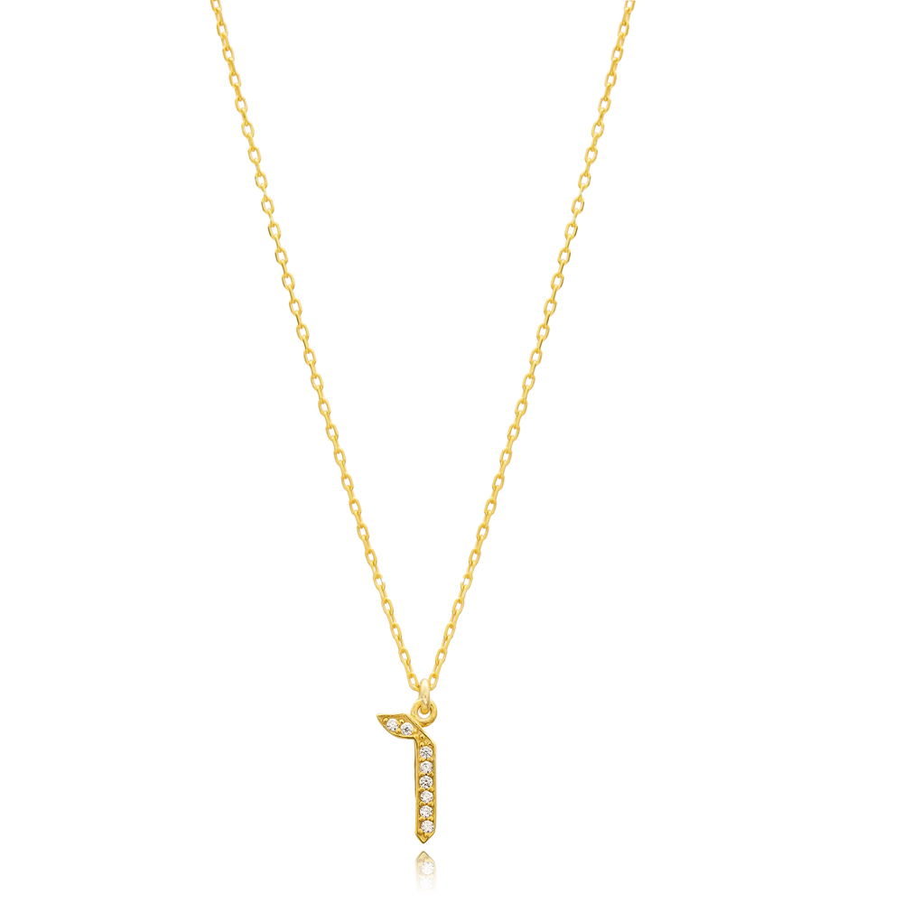 Vav Letter Hebrew Alphabet Design Wholesale Handmade 925 Silver Sterling Necklace