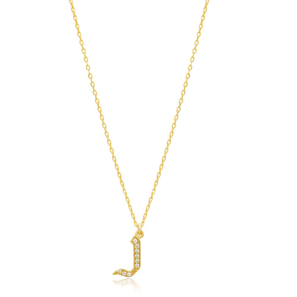 Nun Letter Hebrew Alphabet Design Wholesale Handmade 925 Silver Sterling Necklace