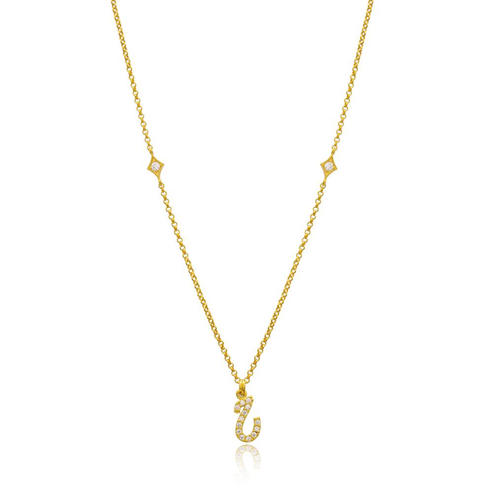 He Letter Arabic Alphabet Design Wholesale Handmade 925 Silver Sterling Necklace
