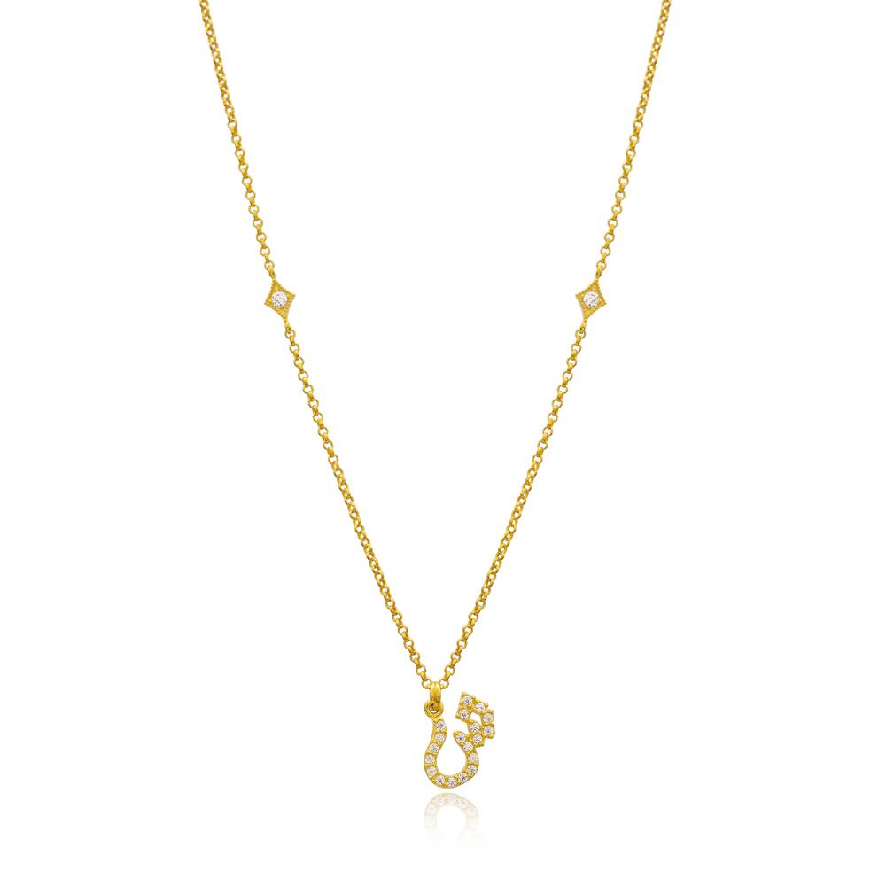 Shiin Letter Arabic Alphabet Design Wholesale Handmade 925 Silver Sterling Necklace