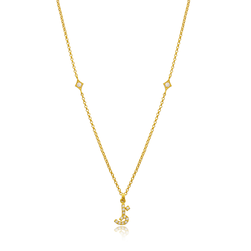 Zaa Letter Arabic Alphabet Design Wholesale Handmade 925 Silver Sterling Necklace