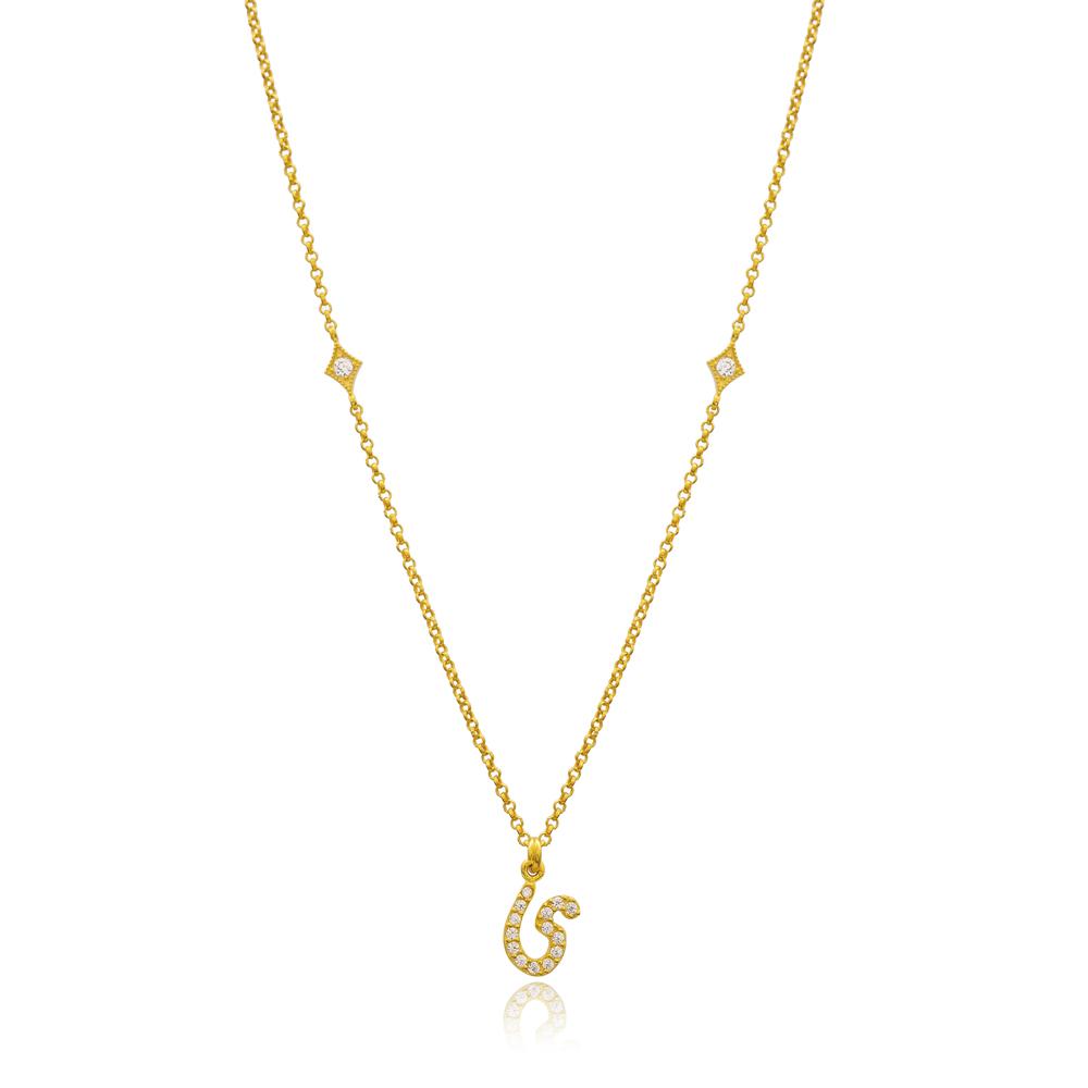 Yaa Letter Arabic Alphabet Design Wholesale Handmade 925 Silver Sterling Necklace