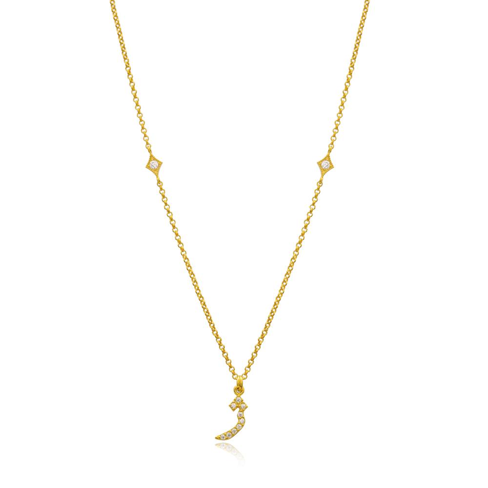 Zhe Letter Arabic Alphabet Design Wholesale Handmade 925 Silver Sterling Necklace