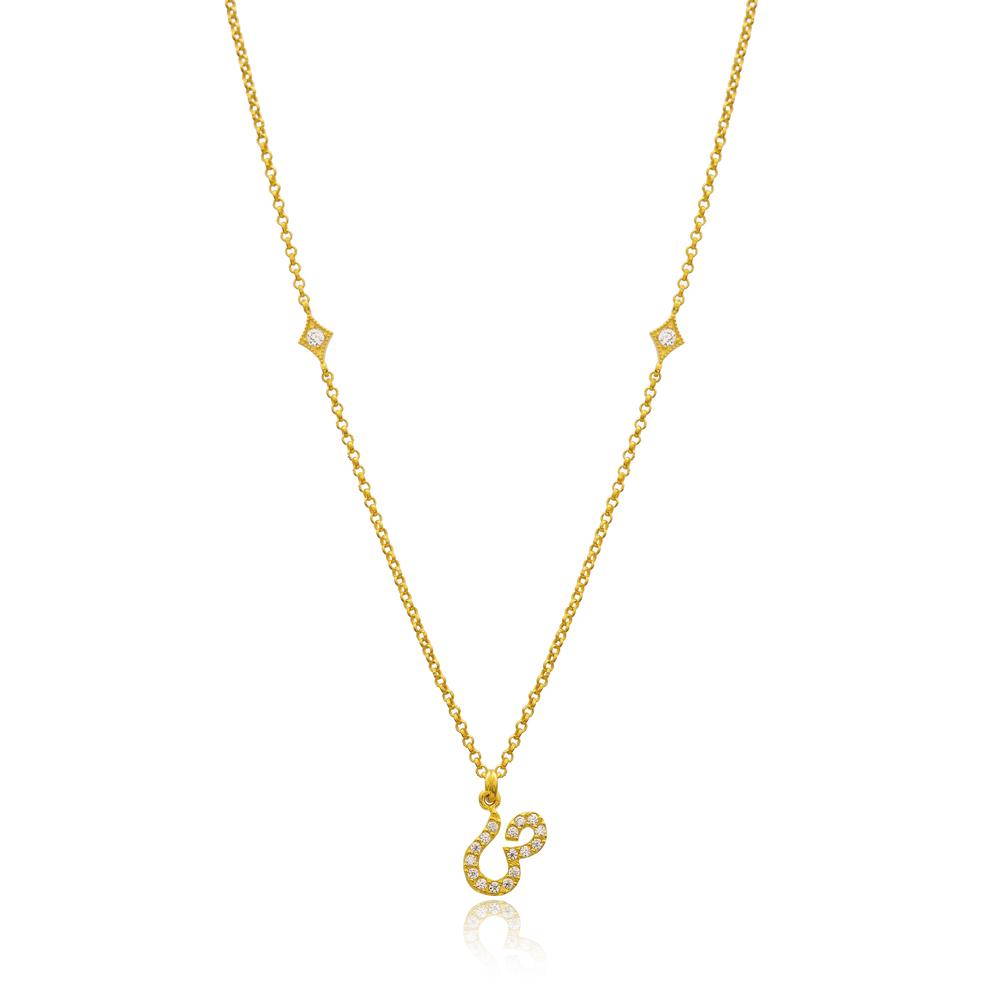 Saad Letter Arabic Alphabet Design Wholesale Handmade 925 Silver Sterling Necklace