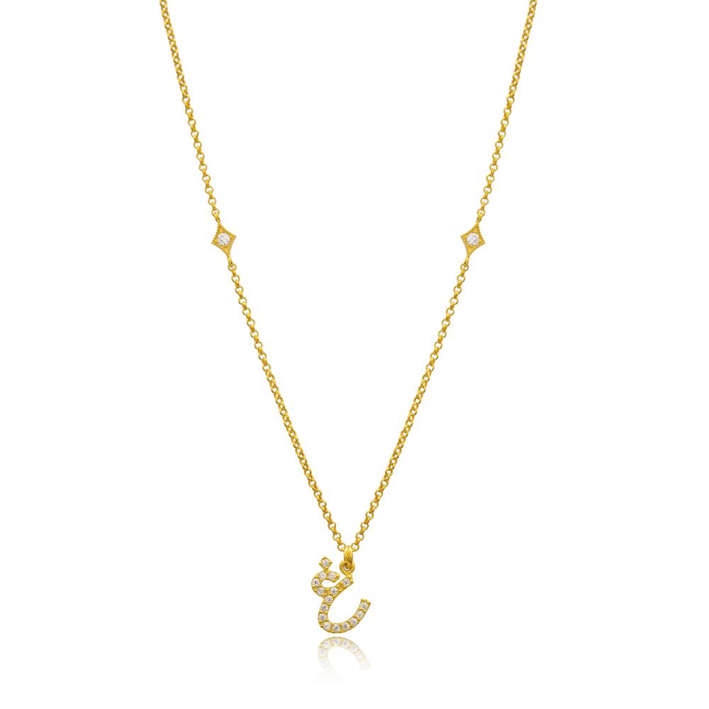 Ghayn Letter Arabic Alphabet Design Wholesale Handmade 925 Silver Sterling Necklace