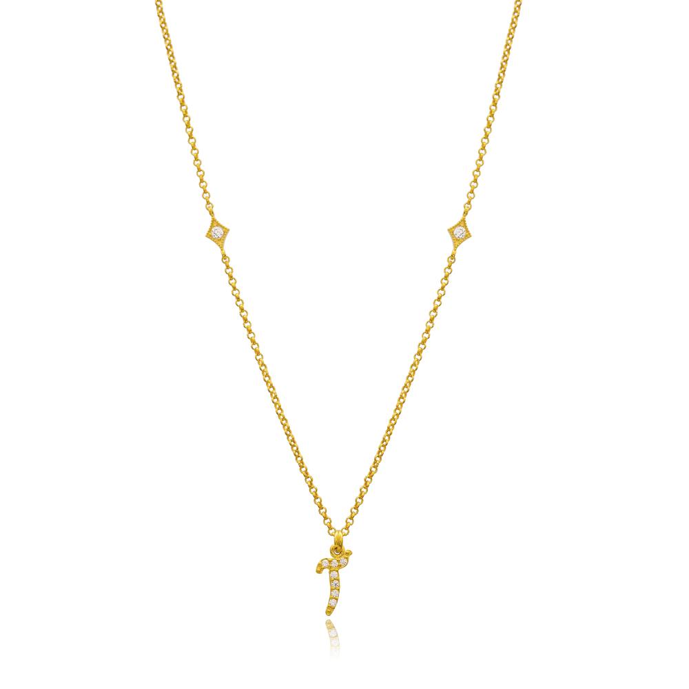Alif Letter Arabic Alphabet Design Wholesale Handmade 925 Silver Sterling Necklace