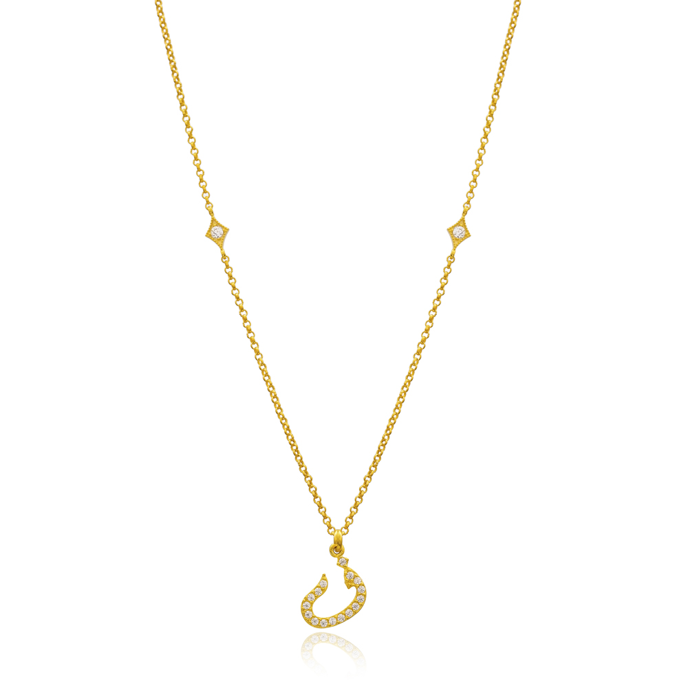 Faa Letter Arabic Alphabet Design Wholesale Handmade 925 Silver Sterling Necklace