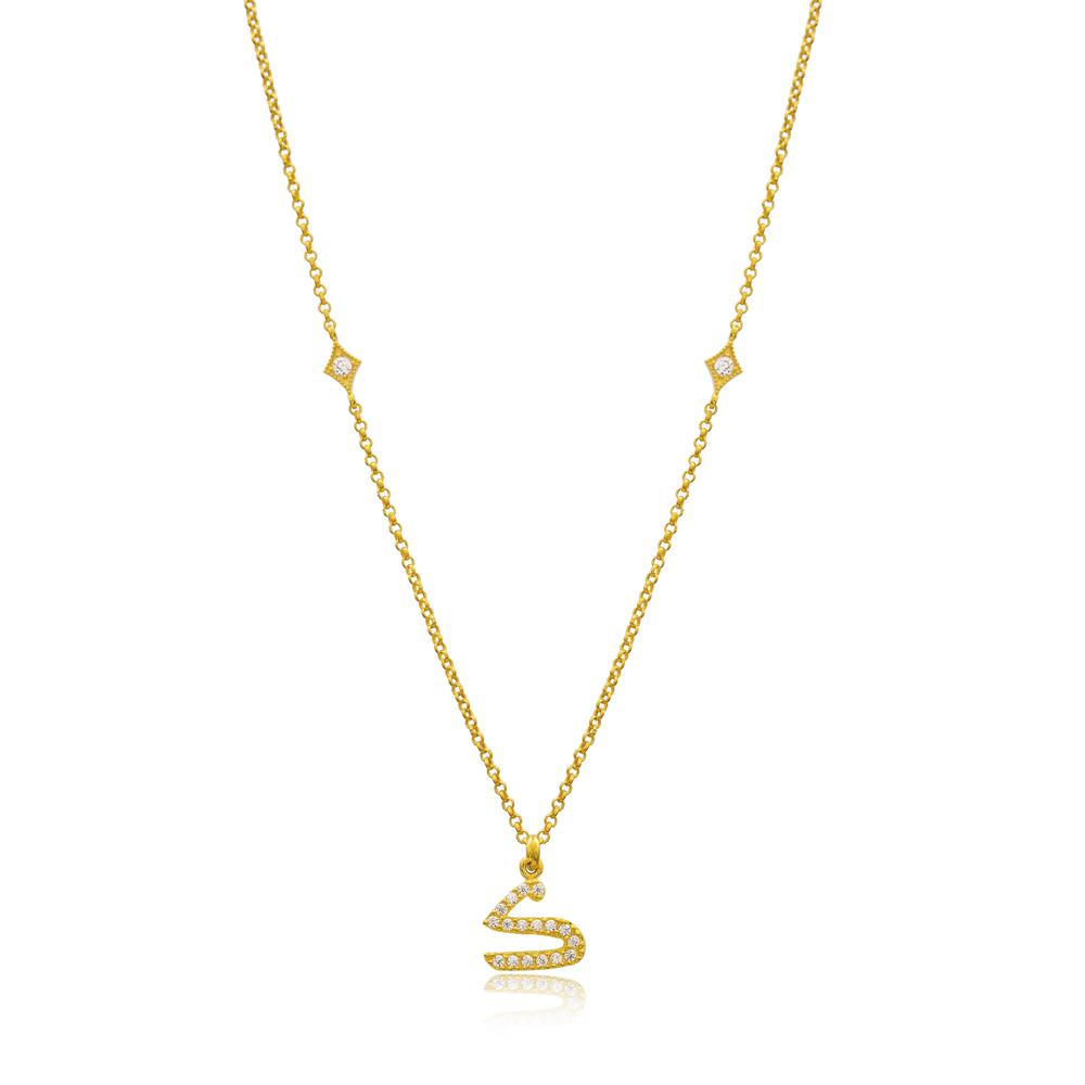 Kaaf Letter Arabic Alphabet Design Wholesale Handmade 925 Silver Sterling Necklace