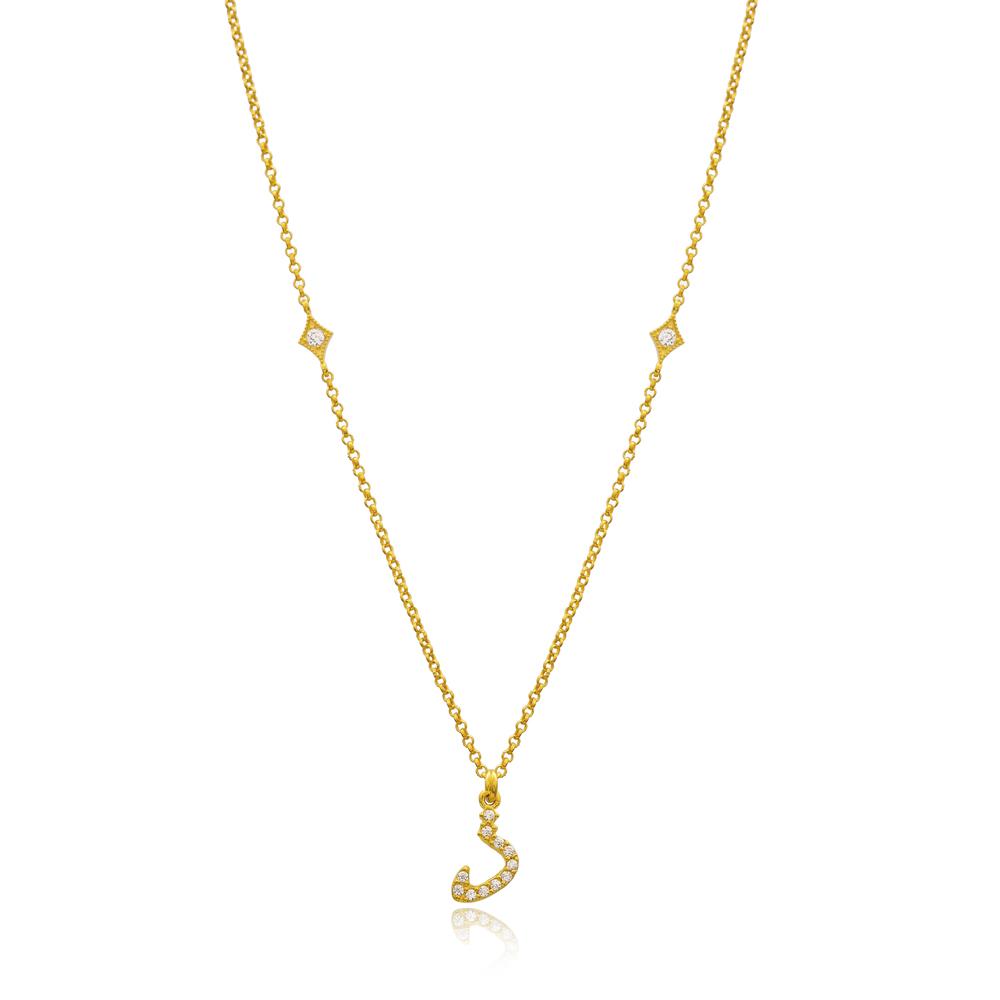 Zaal Letter Arabic Alphabet Design Wholesale Handmade 925 Silver Sterling Necklace