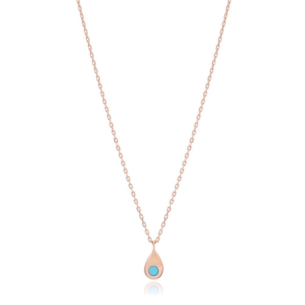 Turquoise Stone Drop Shape Design Turkish Wholesale Handmade 925 Silver Sterling Necklace