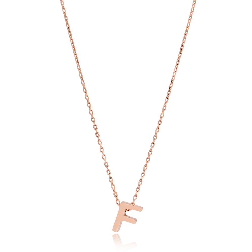 Alphabet F Letter Minimalist Design Necklace Turkish Wholesale Handmade 925 Sterling Silver Jewelry