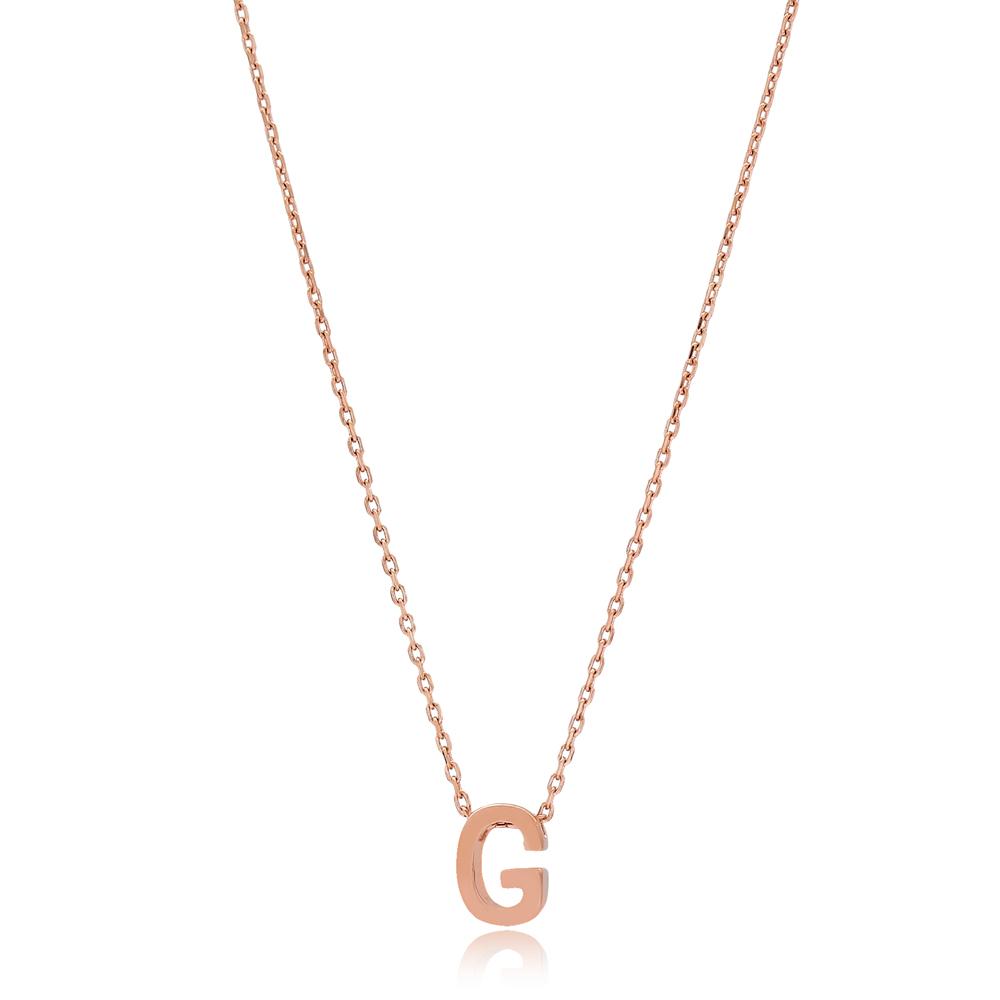 Alphabet G Letter Minimalist Design Necklace Turkish Wholesale Handmade 925 Sterling Silver Jewelry
