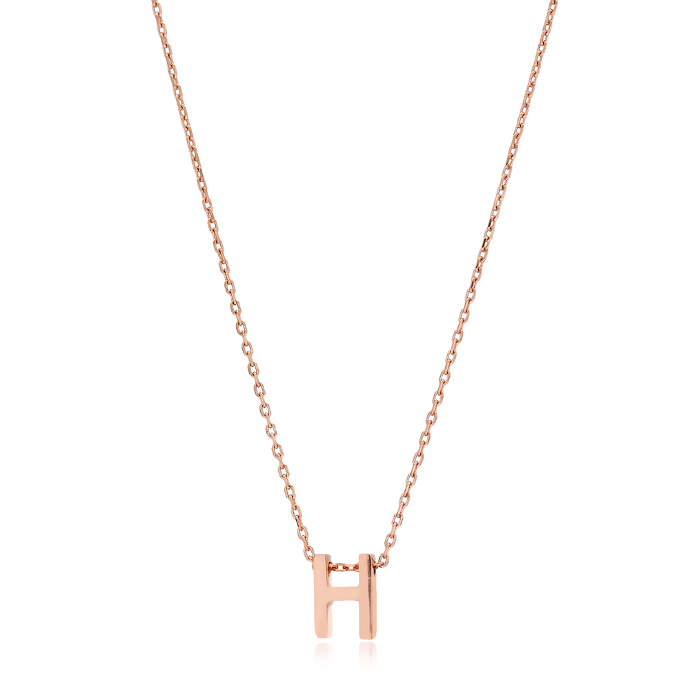 Alphabet H Letter Minimalist Design Necklace Turkish Wholesale Handmade 925 Sterling Silver Jewelry