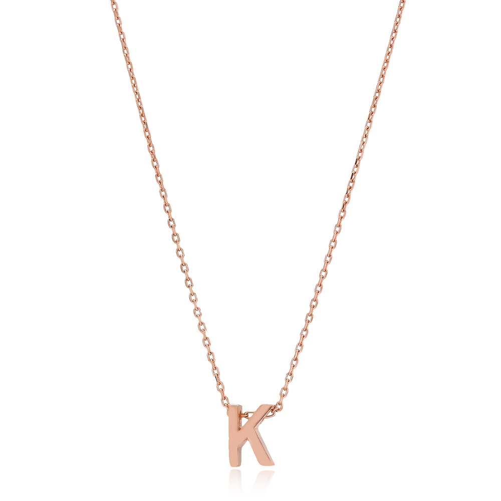 Alphabet K Letter Minimalist Design Necklace Turkish Wholesale Handmade 925 Sterling Silver Jewelry