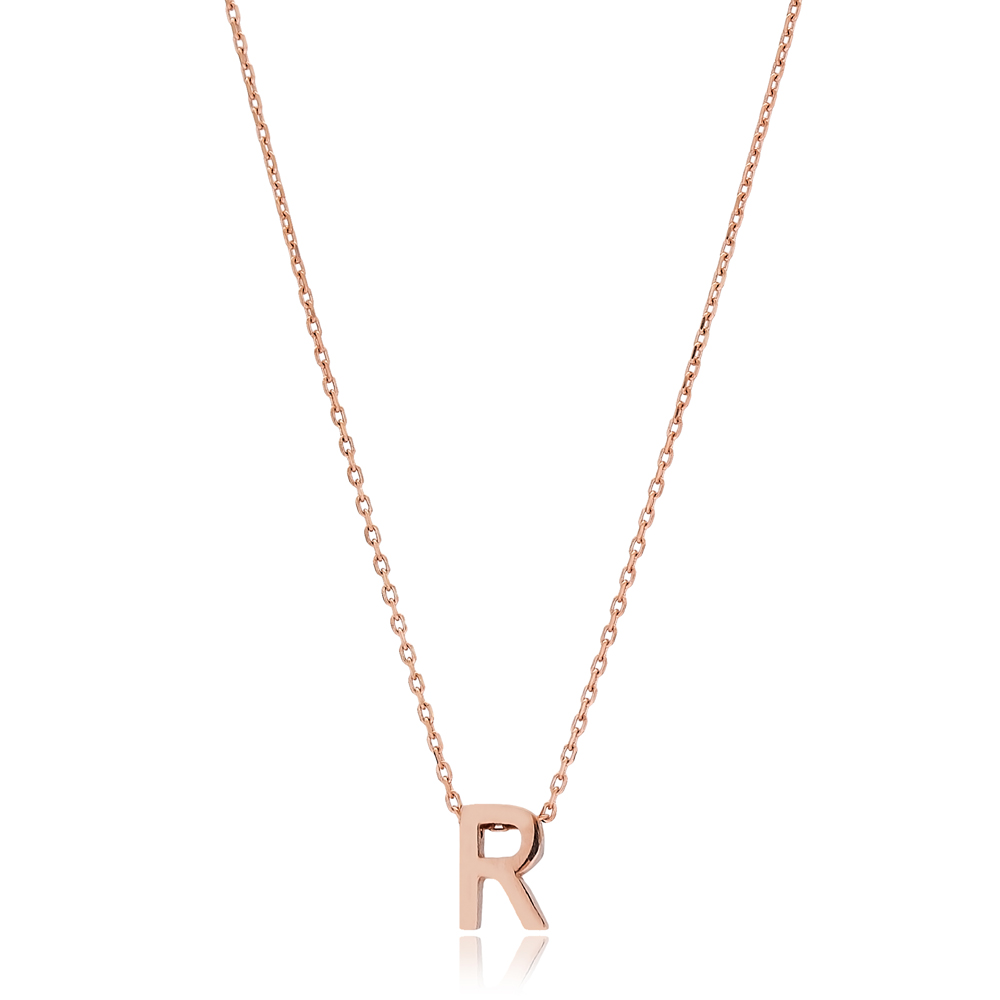 Alphabet R Letter Minimalist Design Necklace Turkish Wholesale Handmade 925 Sterling Silver Jewelry