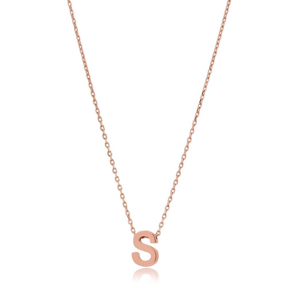 Alphabet S Letter Minimalist Design Necklace Turkish Wholesale Handmade 925 Sterling Silver Jewelry