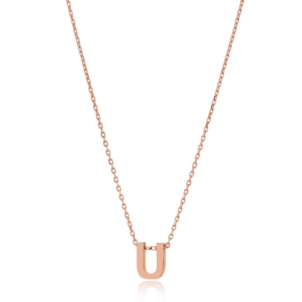 Alphabet U Letter Minimalist Design Necklace Turkish Wholesale Handmade 925 Sterling Silver Jewelry