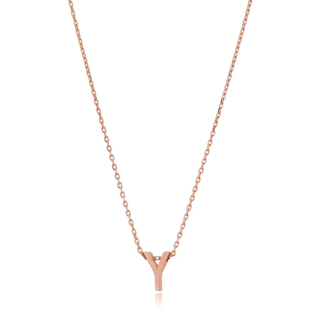 Alphabet Y Letter Minimalist Design Necklace Turkish Wholesale Handmade 925 Sterling Silver Jewelry