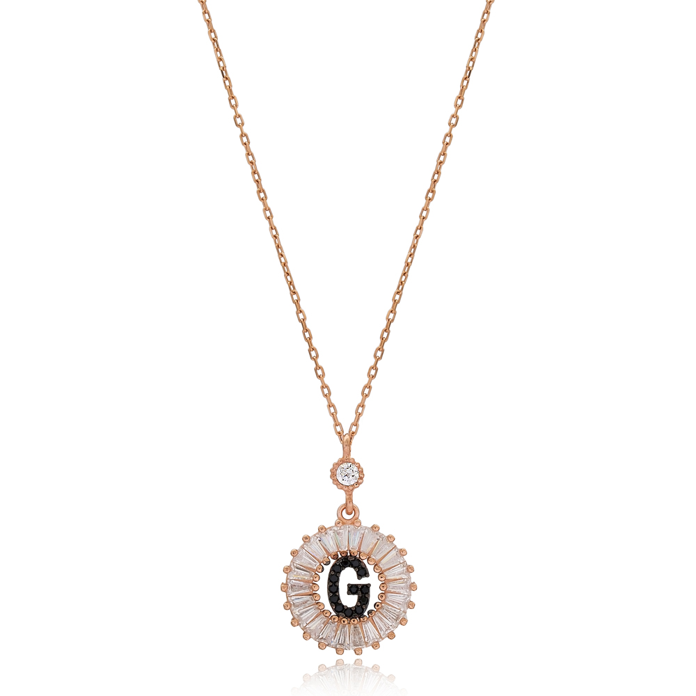 Alphabet G Letter Baguette Stone Design Necklace Turkish Wholesale Handmade 925 Sterling Silver Jewelry