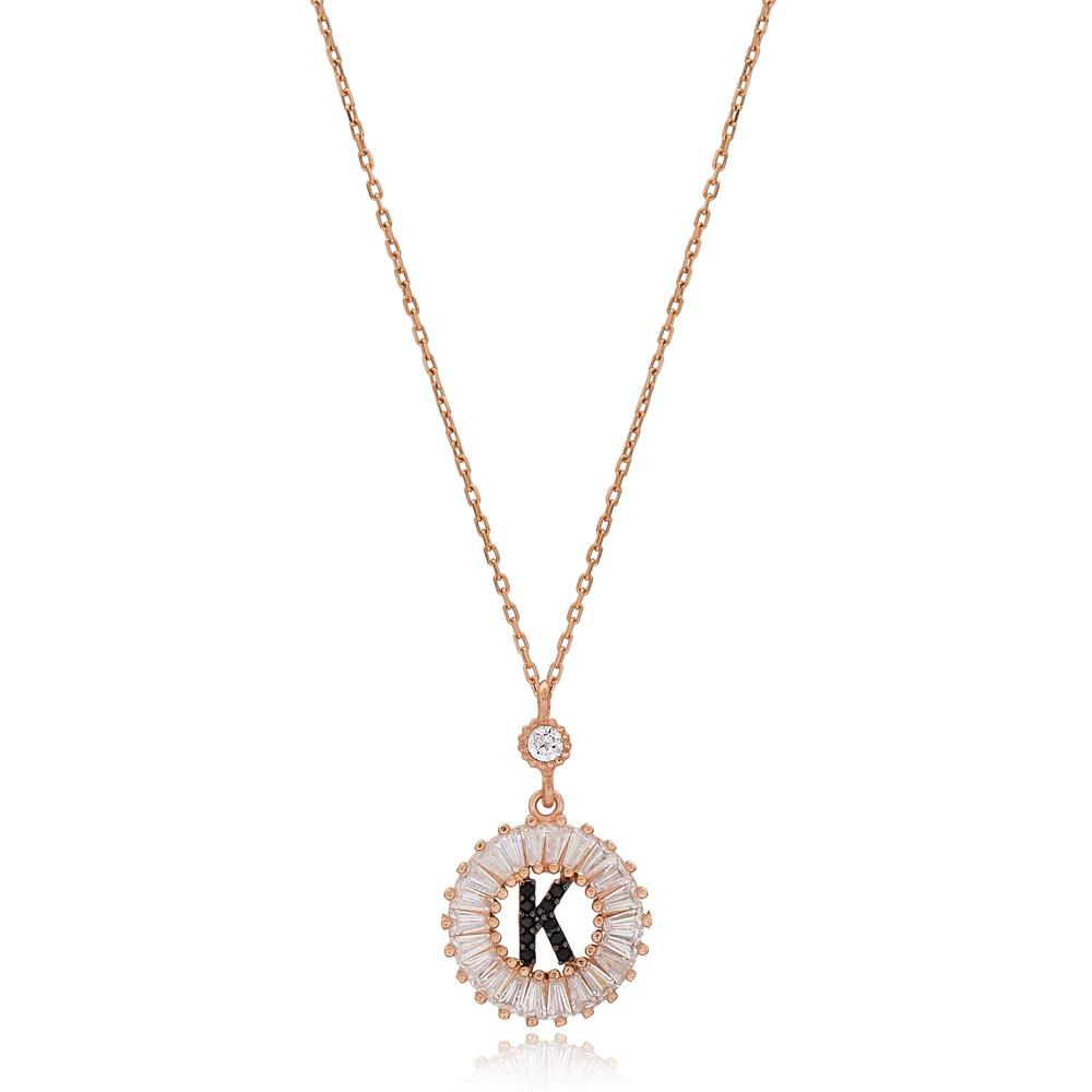 Alphabet K Letter Baguette Stone Design Necklace Turkish Wholesale Handmade 925 Sterling Silver Jewelry