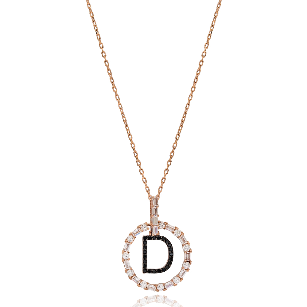 Alphabet D Letter Swinging Design Necklace Turkish Wholesale Handmade 925 Sterling Silver Jewelry