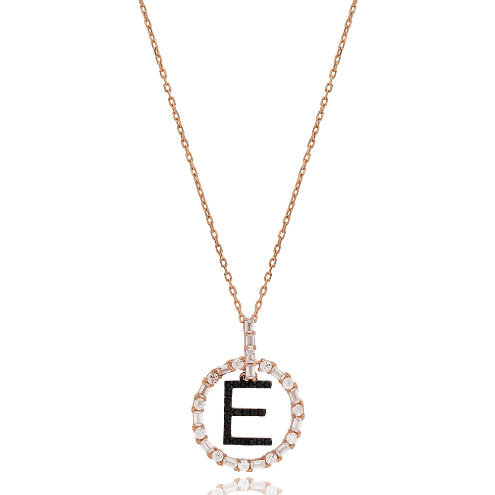 Alphabet E Letter Swinging Design Necklace Turkish Wholesale Handmade 925 Sterling Silver Jewelry