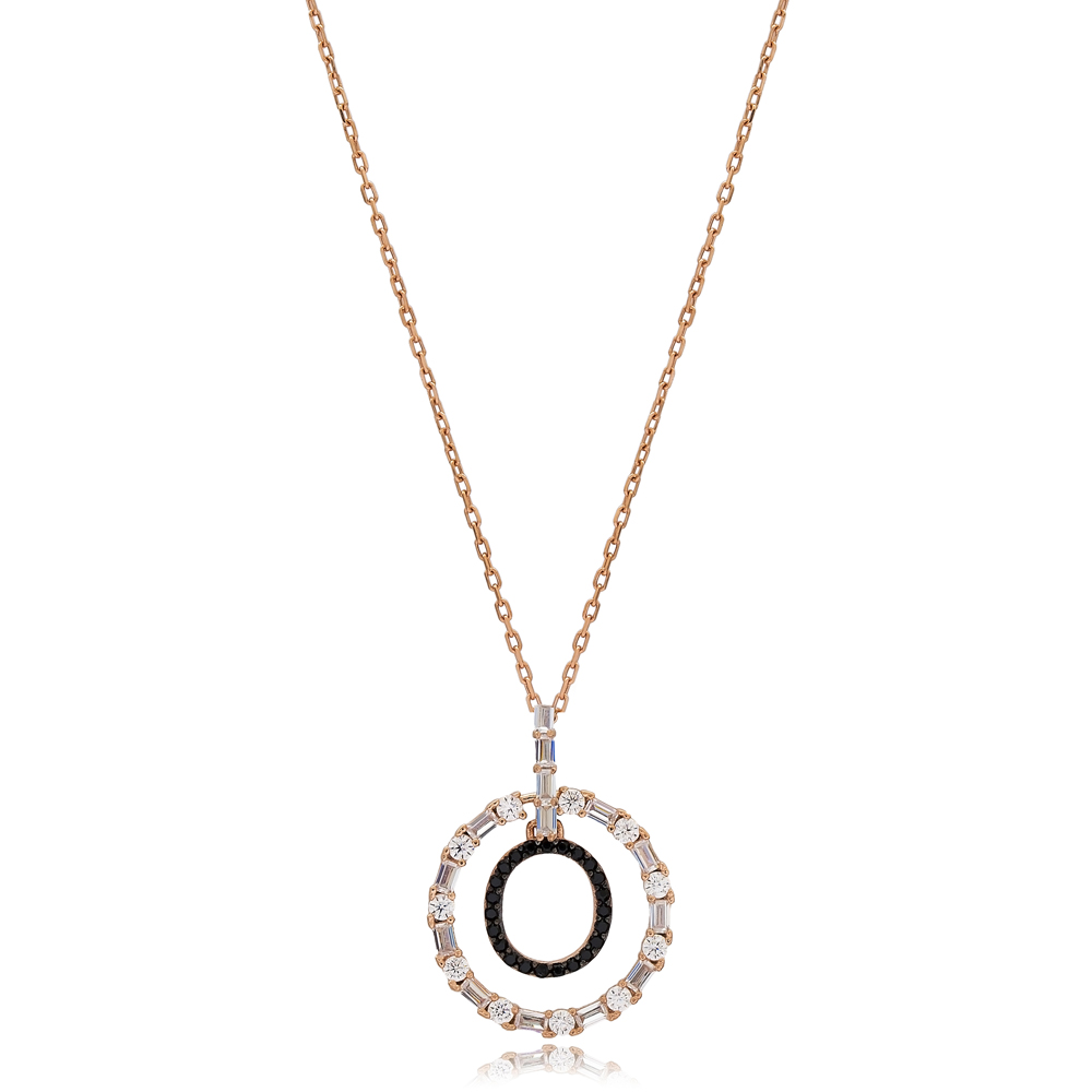 Alphabet O Letter Swinging Design Necklace Turkish Wholesale Handmade 925 Sterling Silver Jewelry