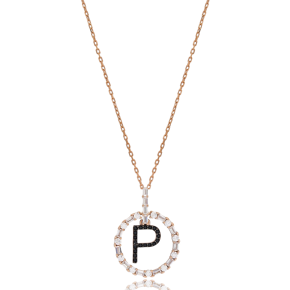 Alphabet P Letter Swinging Design Necklace Turkish Wholesale Handmade 925 Sterling Silver Jewelry