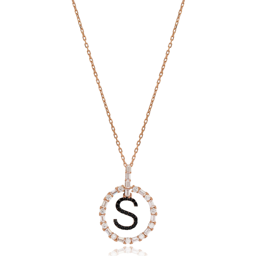 Alphabet S Letter Swinging Design Necklace Turkish Wholesale Handmade 925 Sterling Silver Jewelry
