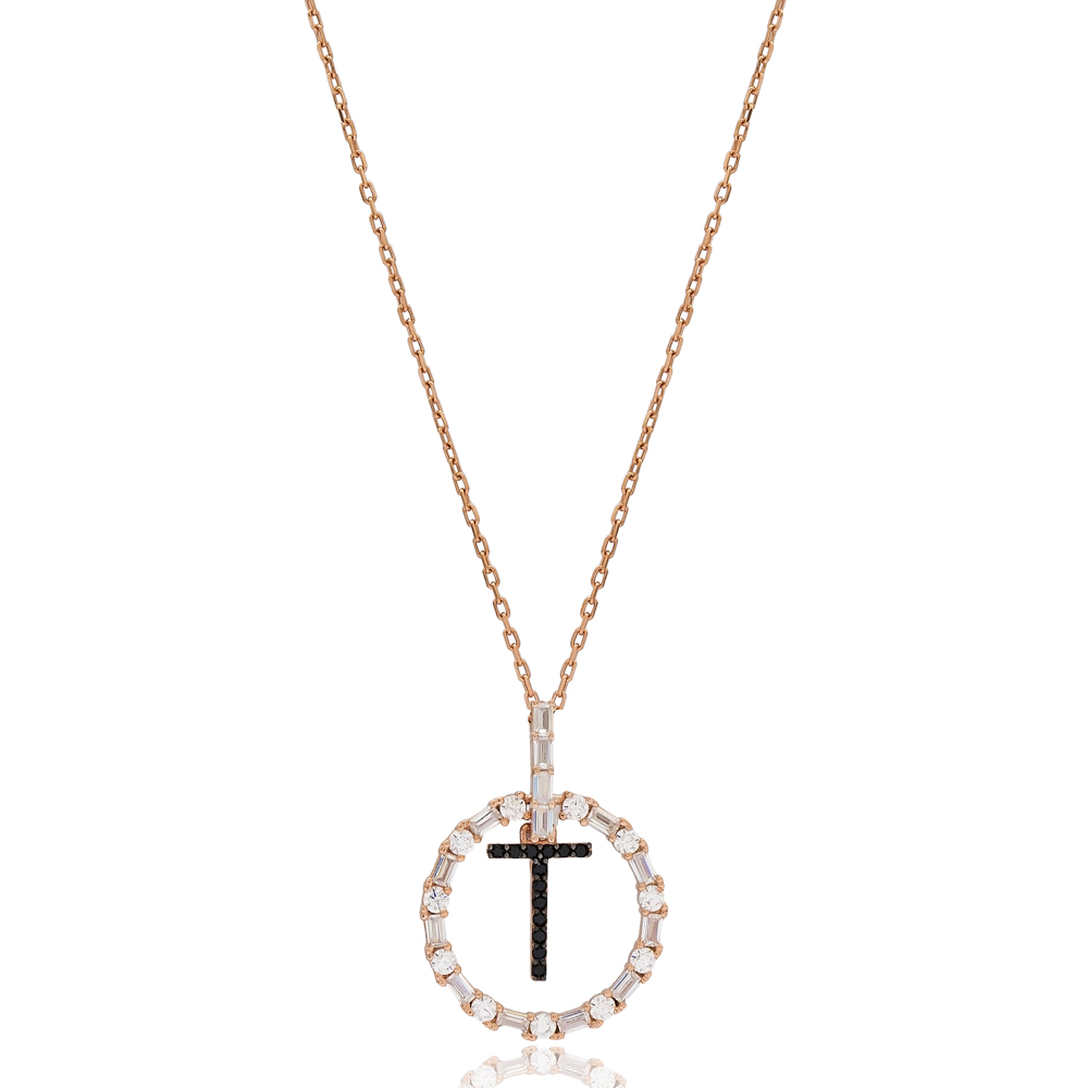 Alphabet T Letter Swinging Design Necklace Turkish Wholesale Handmade 925 Sterling Silver Jewelry