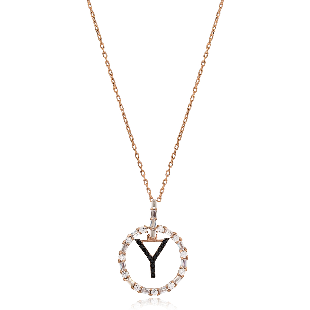 Alphabet Y Letter Swinging Design Necklace Turkish Wholesale Handmade 925 Sterling Silver Jewelry